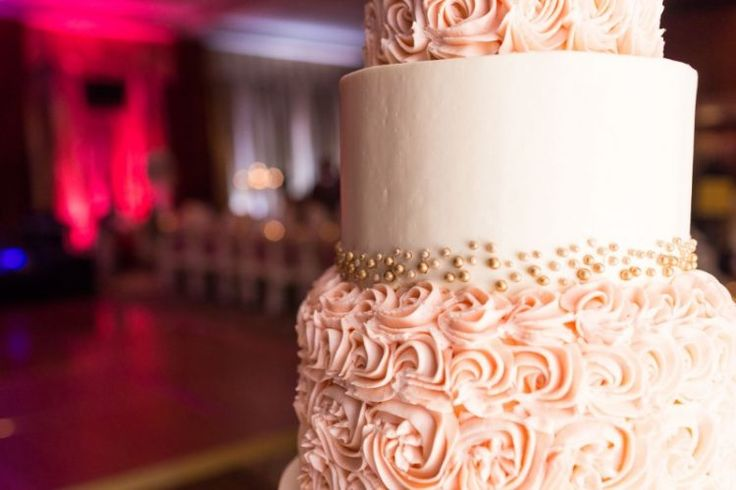 Timeless Denver Wedding at The Brown Palace Hotel and Spa, CO  Beautiful flower details on a blush pink wedding cake!   Photographer:  Mathew Irving Photography