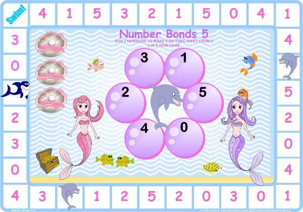 Mermaids Number Bonds To 5 Game