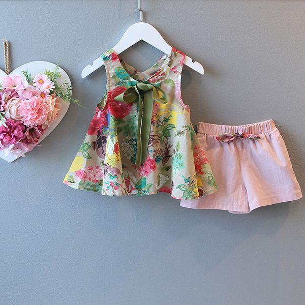 Девушки костюм младенца весной и летом 2017 новый сломанный цветок Западный стиль детей жилет топы+шорты из двух частей набор