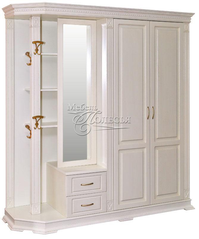 Шкаф комбинированный для прихожей Верди Люкс 1 слоновая кость (П433.01)