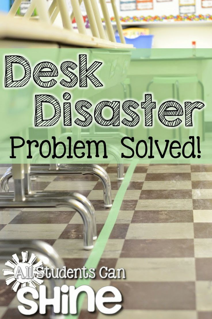 Desk Disaster - Problem Solved! Help your students keep straight rows with tape on the floor. Brilliant!