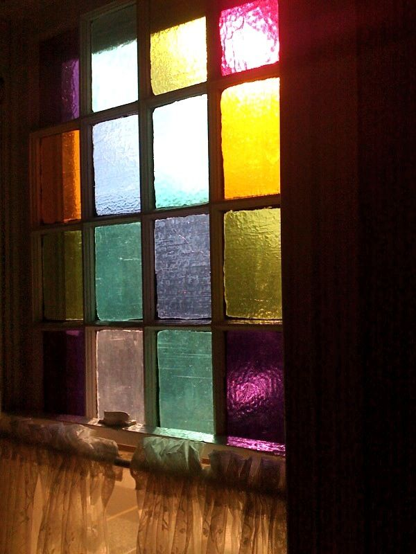 Coloured panes of glass in shed windows