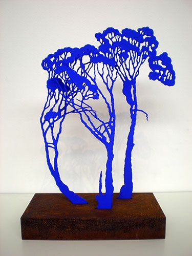 JUDY HOLDING  'Blue Mallee' 2012  3mm MDF, acrylic paint, corten steel base  Artist Proof, edition of 30  30 x 20 x 10 cm  $1,200
