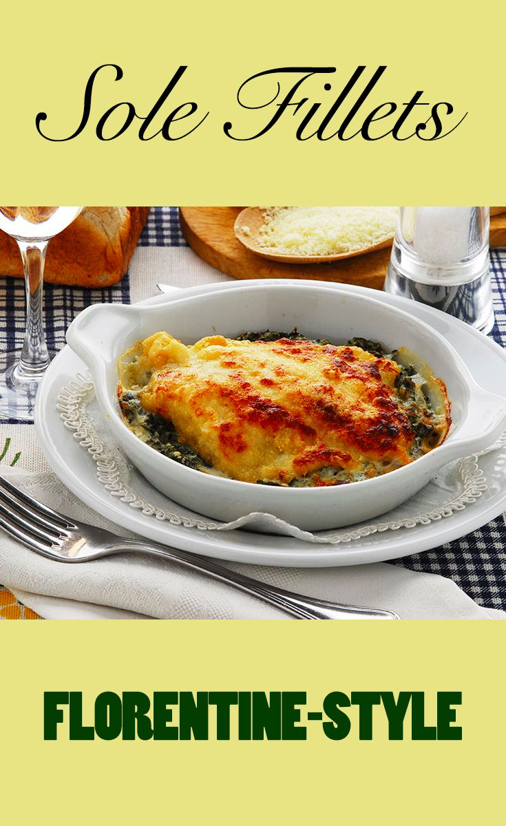 Sole fillets baked with spinach and cheese. A good way to introduce kids to fish.