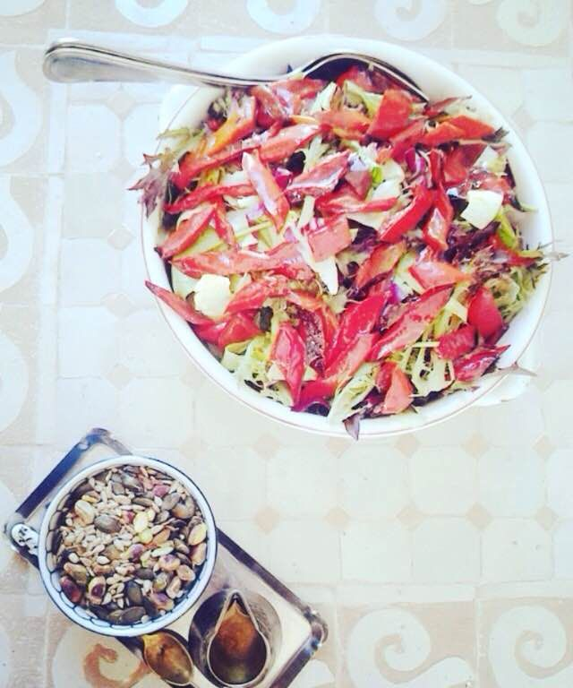Fresh salad with seeds. Healthy dish for lunch