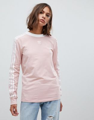 5276d067418 adidas Originals | adidas Originals Three Stripe Long Sleeve T-Shirt In Pink