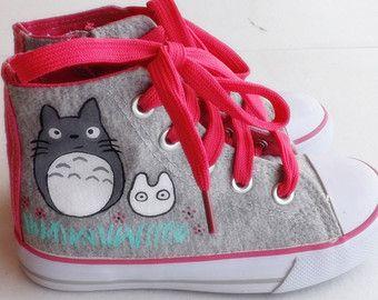 """Scarpe Sneakers Totoro, Totoro, Totoro dipinte a mano, ispirato al film """"Il mio vicino Totoro"""""""