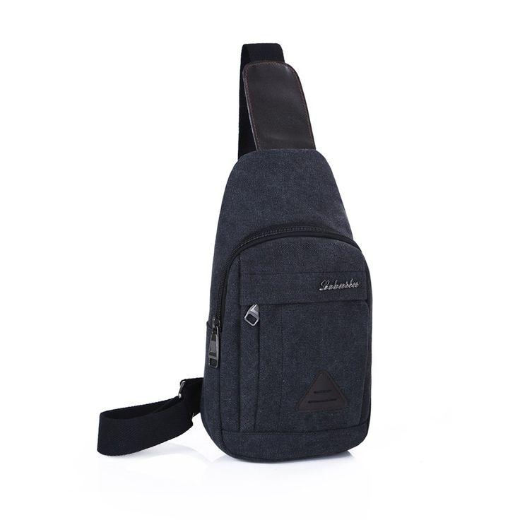 black New Men Vintage Canvas Bags Zipper Closure Adjustable Strap - Tomtop.com