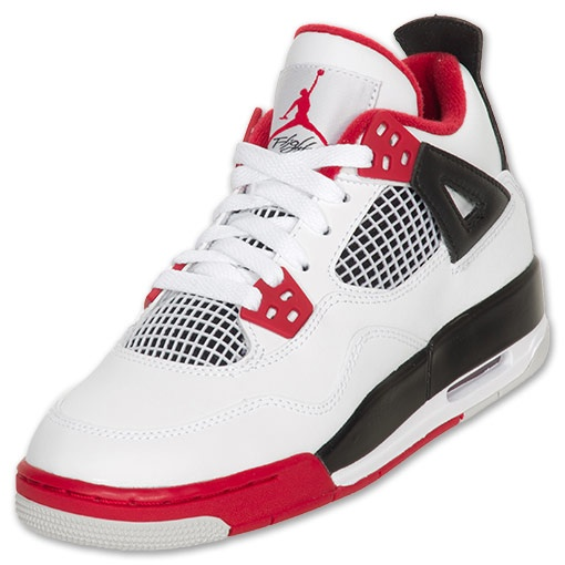 109.99 (5.5 boys) jordan retro iv kids basketball shoes finishline