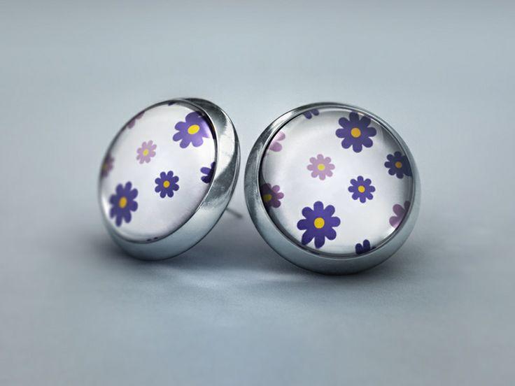 Ohrstecker - Blütenzauber Weiß Violett von Schmuckkauz auf DaWanda.com