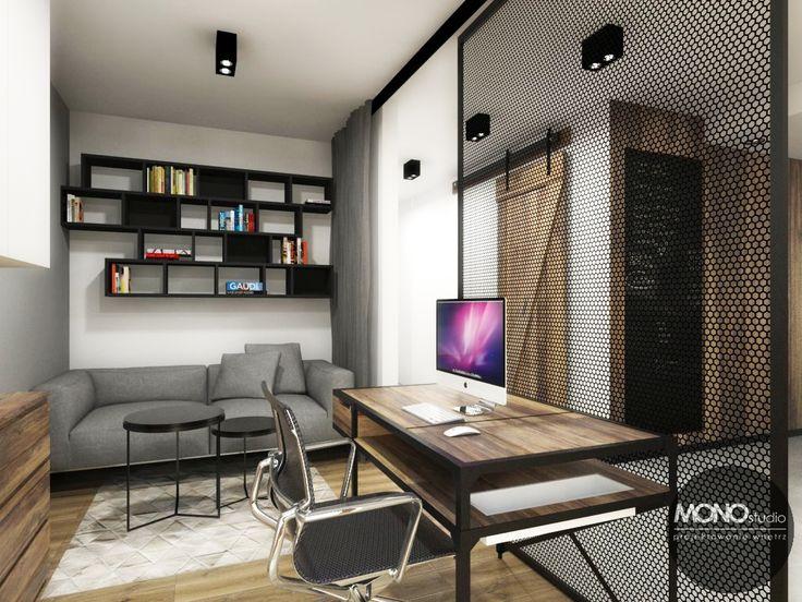 Gabinet - miejsce do pracy oddzielone ażurową ścianką i przesuwnymi kurtynami.   Więcej o nas znajdziesz na www.monostudio.pl oraz facebook Projektowanie WNĘTRZ pod klucz MONOstudio.pl