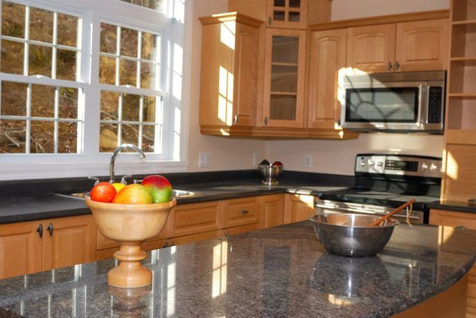 Maple cabinets with gray counters | kitchen remodel ... on Maple Cabinets With Black Granite Countertops  id=62813