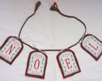 NOEL CHRISTMAS BUNTING Hand made  in felt and cotton -    Edit Listing  - Etsy