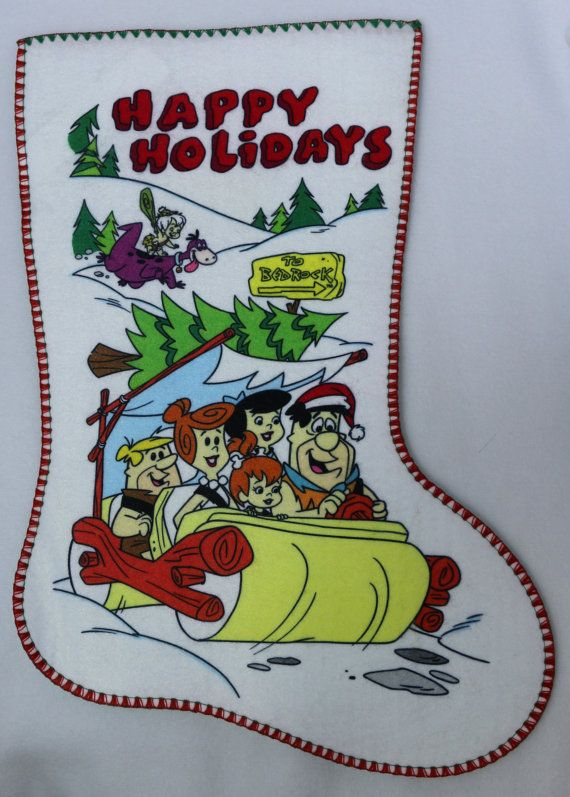 Vintage Happy Holidays The Flintstones Christmas Stocking
