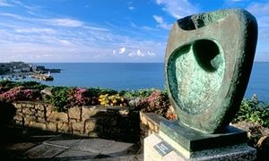 bronze statue by Barbara Hepworth overlooking St Ives harbour