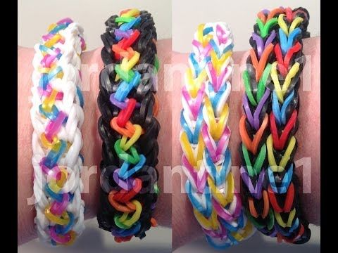 Rainbow Loom INSPIRE Bracelet (Reversible). Designed and loomed by jordantine1. Click photo for YouTube tutorial. 03/13/14