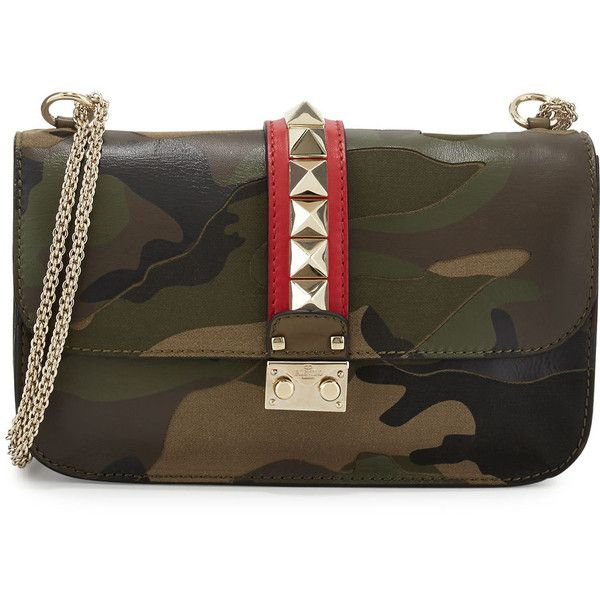 Valentino Camo-Print Rockstud Leather Shoulder Bag ($1,267) ❤ liked on Polyvore featuring bags, handbags, shoulder bags, green, camo shoulder bag, leather shoulder handbags, green leather shoulder bag, green leather purse and genuine leather handbags
