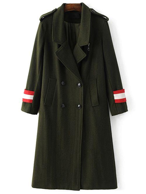 Stile militare misto lana del cappotto