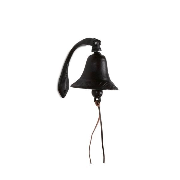 """6"""" Metal Black Cast Iron Wall Bell on Curved Bracket"""