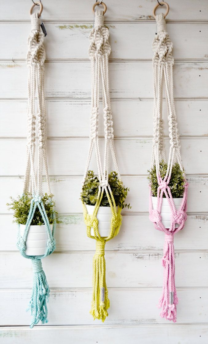 Macrame Hand Dyed Planthangers By Ranrandesign On Etsy