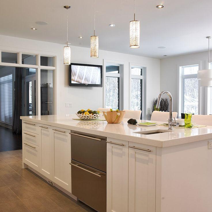îlot de cuisine contemporaine avec lave-vaisselle intégré