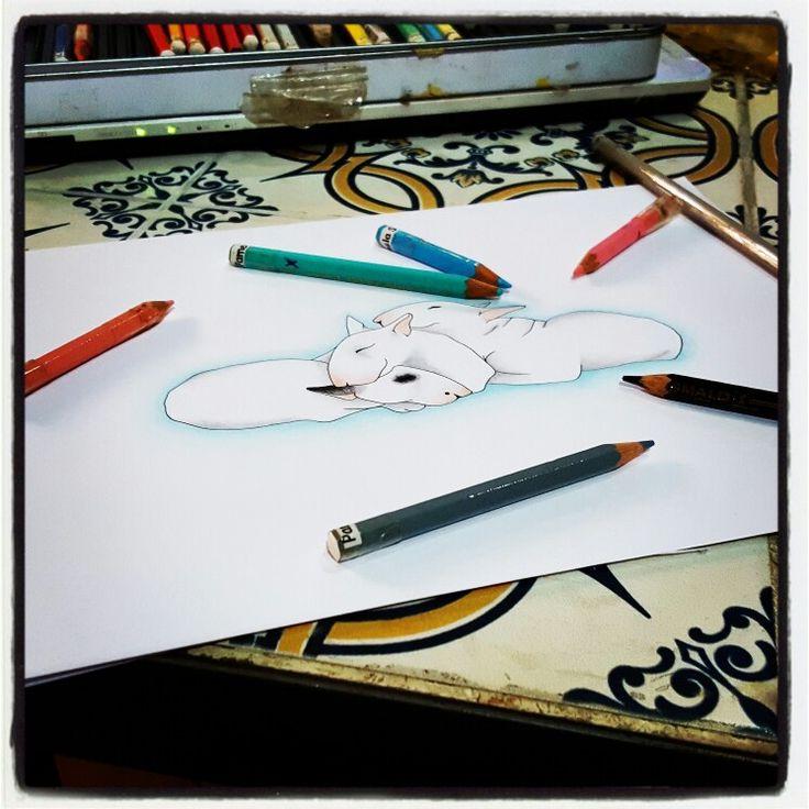 WORK IN PROGRESS: BULL CHE DORMONO - Pastelli & Rapifograph  By Pamy  #Art #Iloveart #Instaart #FePam #GraphicArt #FePamGraphicArt