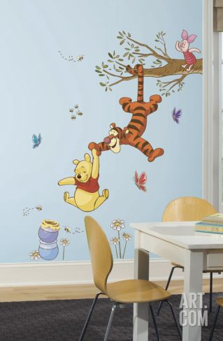 Amazing Winnie the Pooh Swinging for Honey Peel and Stick Giant Wall Decals