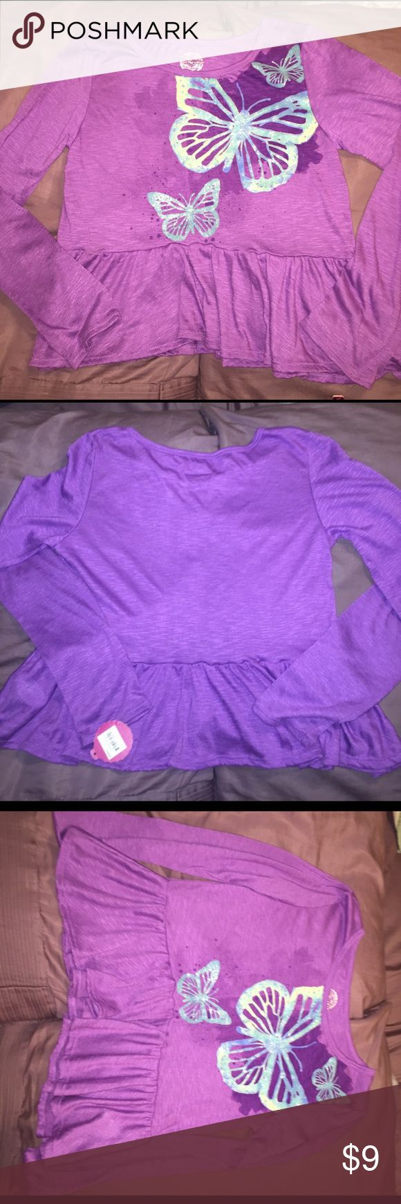 NWT SO girls size 16 long sleeved top💖 SO purple long sleeved top no really cropped but a little short, wit butterflies on the front, size 16 SO Shirts & Tops Blouses