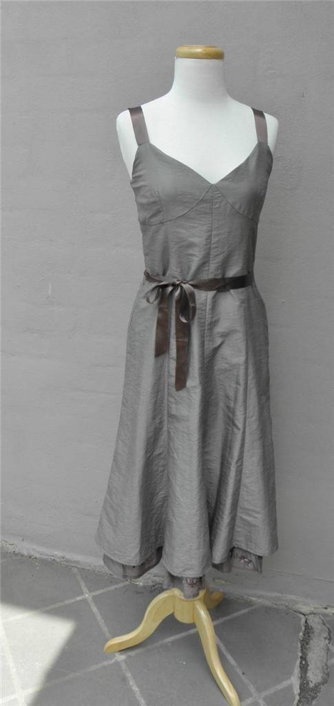 Jigsaw Metallic Grey Taffeta Dress 10 / 36 Full Skirt Brown Satin Tie Belt EUC