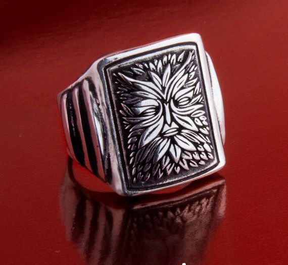 Green man signet Ring Solid Sterling Silver 925 by by silver999
