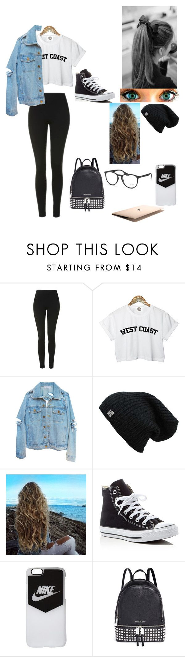 """""""School day"""" by h-a-r-l-i-e ❤ liked on Polyvore featuring Topshop, Cyrus, Converse, NIKE, Michael Kors and Ray-Ban"""