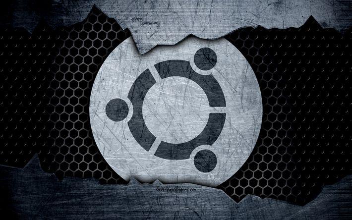 Hämta bilder Ubuntu, Linux, 4k, konst, metall-logotyp, Ubuntu logotyp