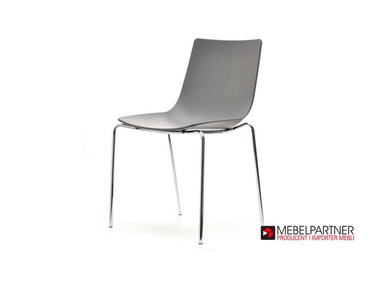 Nowoczesne krzesło z tworzywa ZURICH szare. - Mebel-Partner.pl