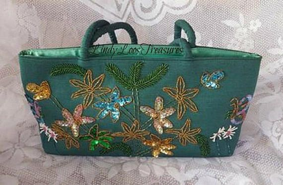 Green Fabric Hand Beaded Hand Bag Beaded Bag Handmade