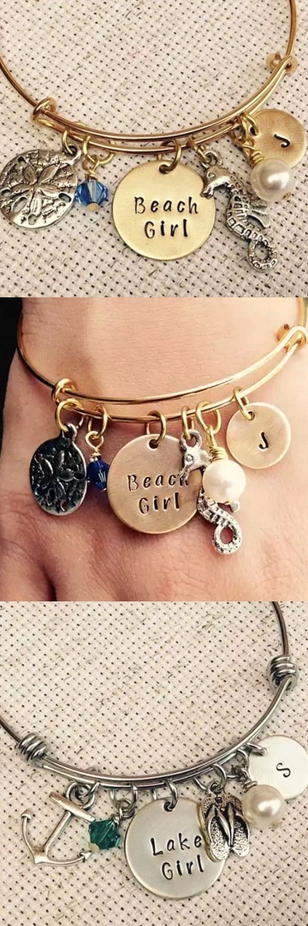 Choose between Beach Girl, Mermaid Soul, Lake Girl or Gypsy Soul. Stainless steel bangle, made to order. Each bracelet comes with charms that are applicable to the saying you choose. These charms are made from a zinc alloy metal which is lead and nickel free.