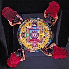Tantric Buddhism Sand art painting done grain by grain then swept into the water. This is a Mandala look it up very interesting