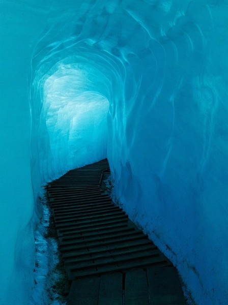 Walkway inside the Rhode Glacier, Switzerland travel-places-spaces
