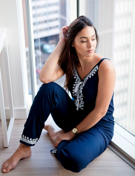 Salopette bleu marine de printemps | Kara Jumpsuit – boho, combishort, pyjama, resortwear,,, mariage, cadeaux de maternité, Ramada, robe d'été
