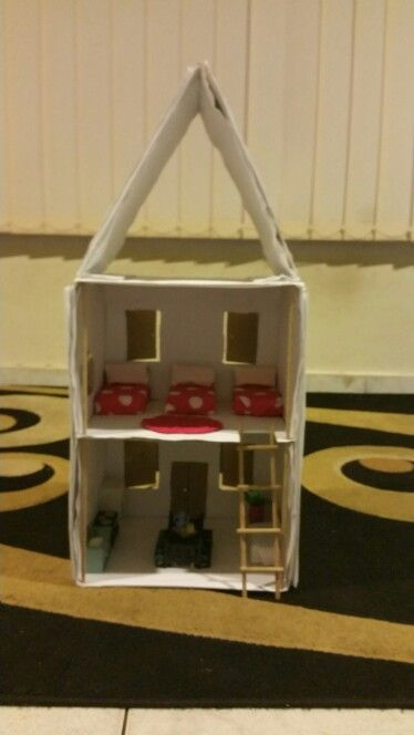 Doll house my daughter made from recycled materials