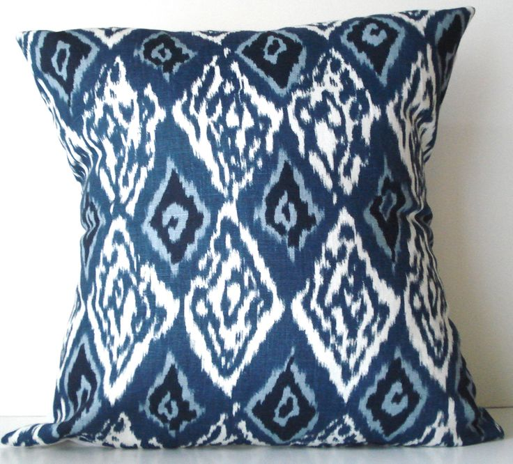 New 18x18 inch Designer Handmade Pillow Case in blue and white ikat by milkandcookiesCanada on Etsy https://www.etsy.com/listing/101084396/new-18x18-inch-designer-handmade-pillow