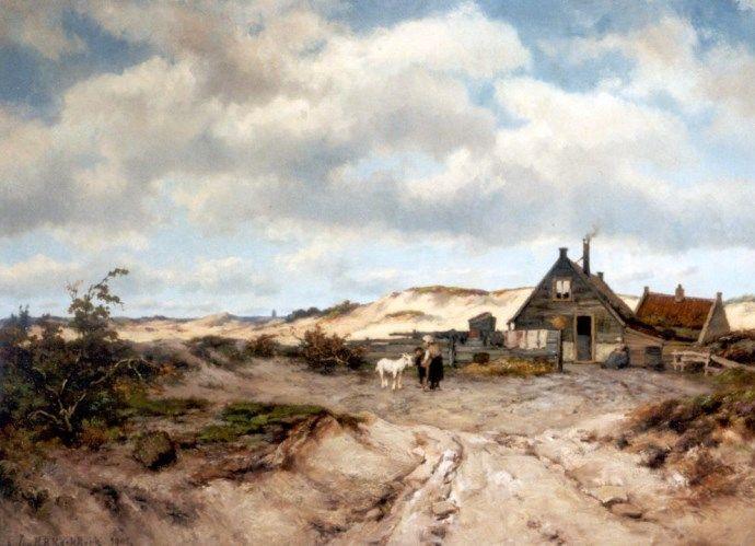 Johannes Hermanus Barend ('Jan H.B.') KOEKKOEK (Dutch painter, 1840-1912): Duinlandschap met vissershut, 1901