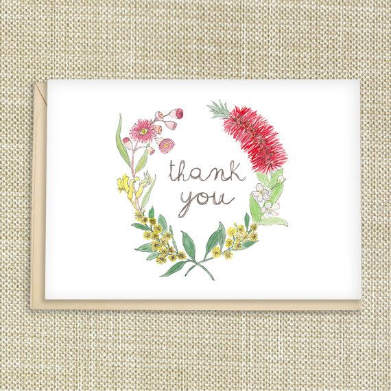 Thank you card wreath Australian flowers by Millyandfriends, $4.00 #australiana