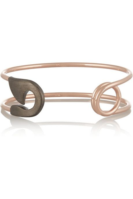 IAM by Ileana Makri Silver and rose gold-plated safety pin cuff
