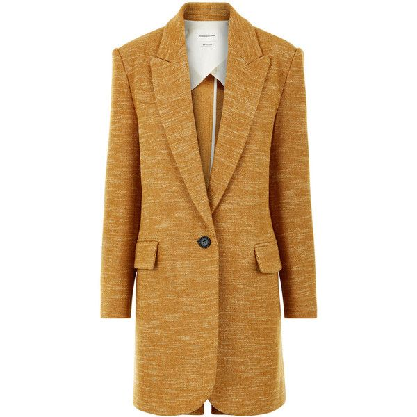 Isabel Marant Étoile Amber Wool-Blend Iron Boyfriend Coat ($170) ❤ liked on Polyvore featuring outerwear, coats, coats & jackets, single-breasted trench coats, wool-blend coat, boyfriend coat, oversized coat and peak coat