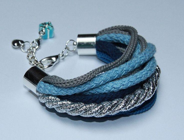 Niebiesko srebrna bransoletka sznurków bawełnianych poliestrowych