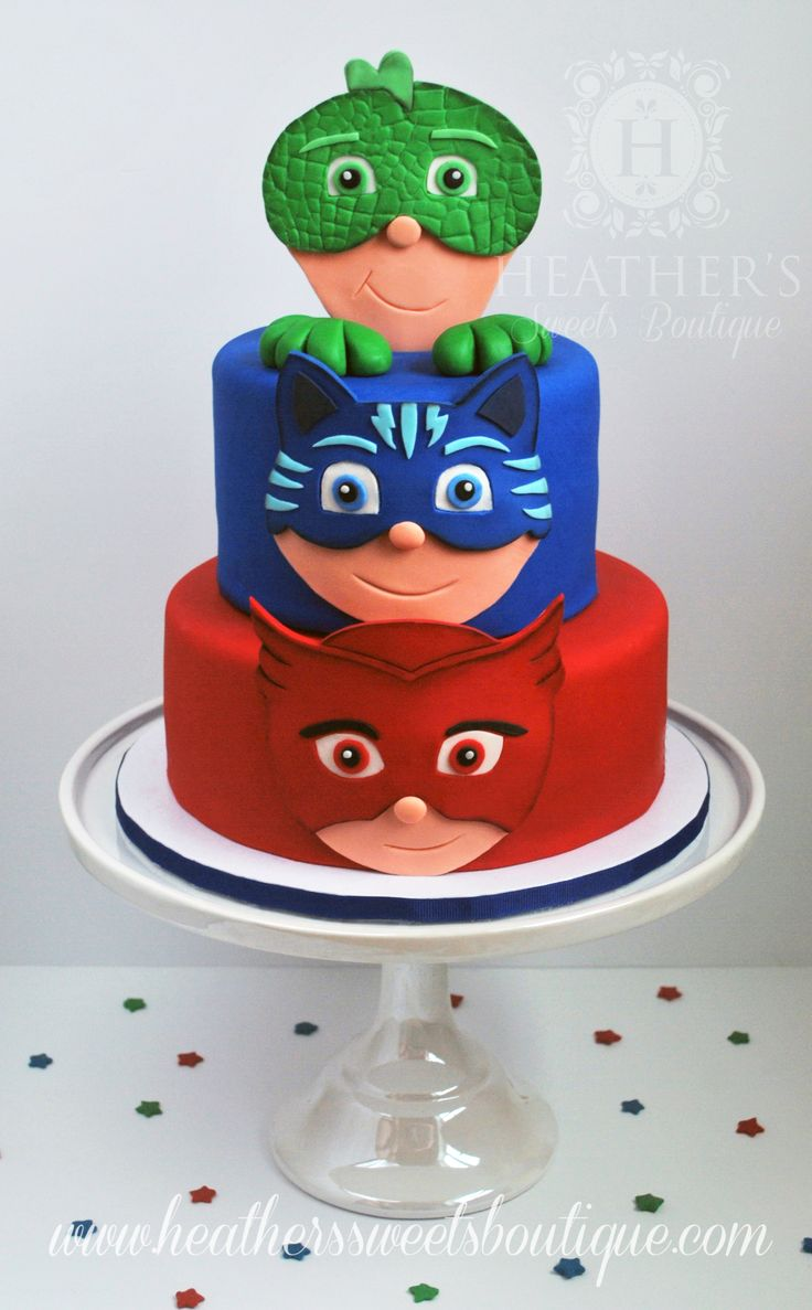 PJ Masks Cake ~ Heather's Sweets Boutique ~ www.heatherssweetsboutique.com ~ www.facebook.com/HSBcakes