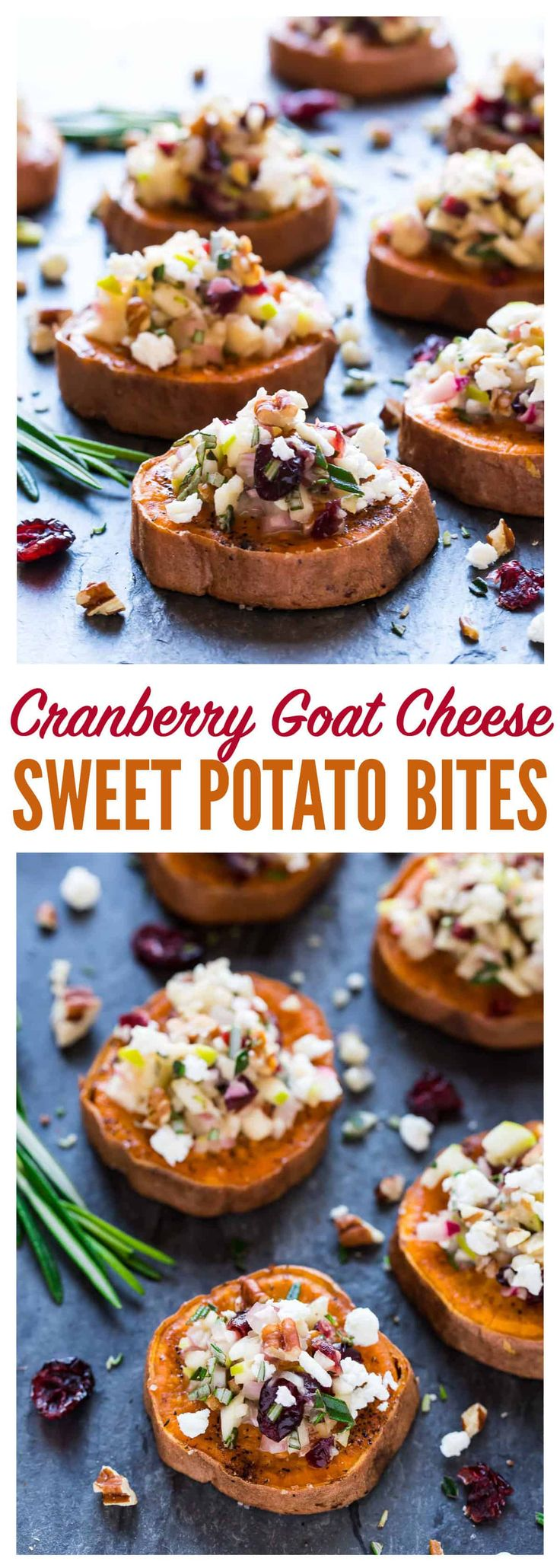 Baked Sweet Potato Rounds with Goat Cheese, Cranberry, Apple, and Pecans. An easy and addictive sweet potato appetizer! Healthy baked sweet potato slices roasted until crispy, then topped with a delicious combination of holiday flavors. Perfect easy appetizer for Thanksgiving, Christmas, and any party! #appetizer #recipes #healthy #glutenfree via @wellplated