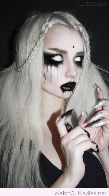 Halloween make-up in black and white