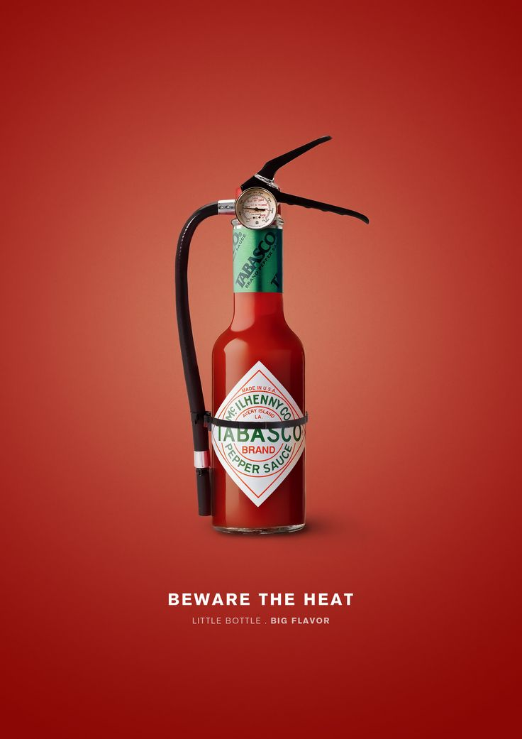 Tabasco graphic. The sauce looks like an extinguisher to showcase how hot the sauce is.