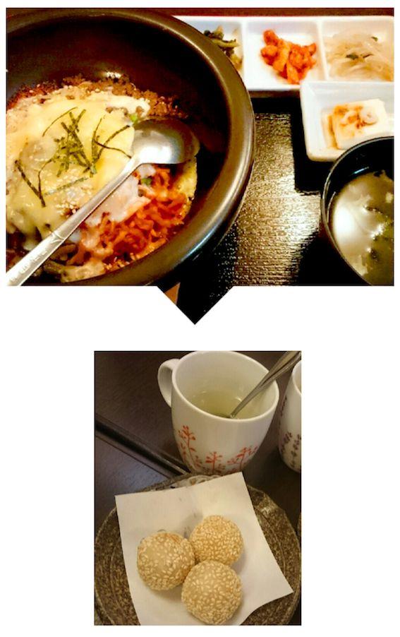 アツアツのチーズ石焼ビビンバ。揚げたてのごま団子とゆず茶もプラス❤❤
